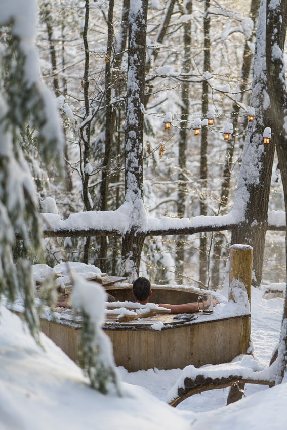 Vermont Tree Cabin Winter Hottub Vermont- Sarah Kozak Photography